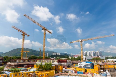Building Construction site with cranes