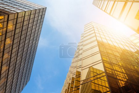 Office buildings with glass walls