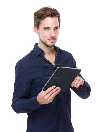 Man hold tablet