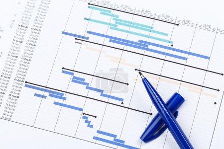 Photo pour Tableau de planification pour la clôture des projets financiers - image libre de droit