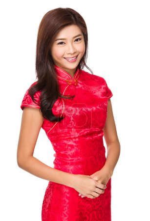 Photo for Chinese young woman in red dress - Royalty Free Image