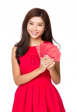 Photo for Chinese Woman with lucky money - Royalty Free Image