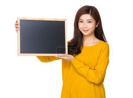Woman with blackboard