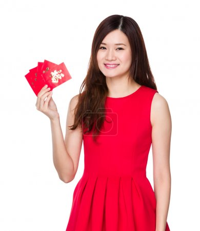 Photo for Asian woman in red dress with Chinese pocket - Royalty Free Image