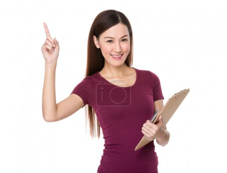 Asian young woman in red t-shirt