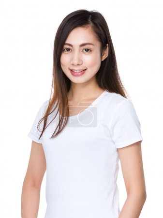 Photo for Asian young woman in white t-shirt on white background - Royalty Free Image