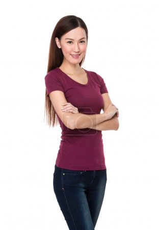 Photo for Young asian woman in red t-shirt with arms crossed - Royalty Free Image