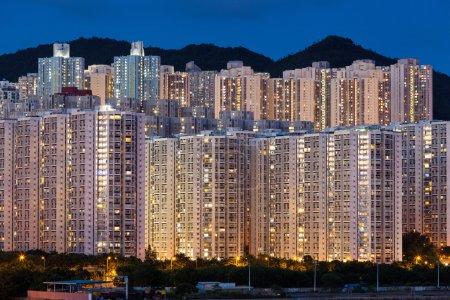 Hign density residential building in Hong Kong at night
