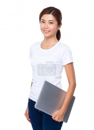 Asian young woman in white t-shirt