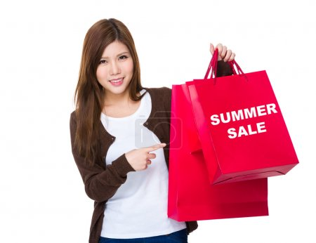 Young woman  pointing  at  shopping bags