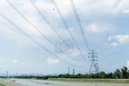 high voltage towers and transmission lines