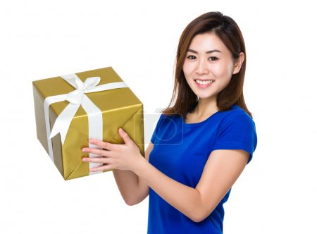 Photo for Asian young woman in blue t-shirt with gift box - Royalty Free Image
