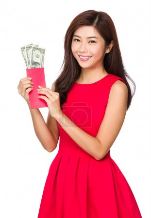 Chinese young woman in red dress