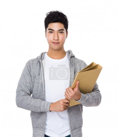 Asian young man in grey sweater