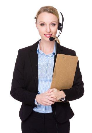 customer services representative with clipboard