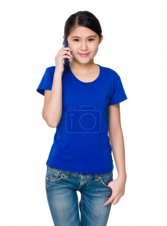 Asian young woman in blue t-shirt