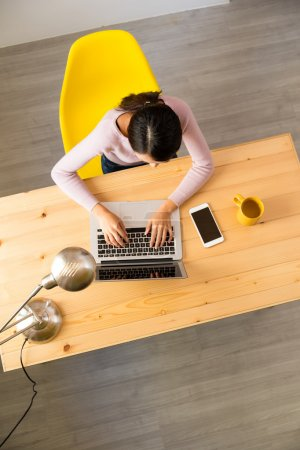 woman using notebook computer at home