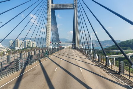 Photo for Suspension bridge in Hong Kong with clear blue sky - Royalty Free Image