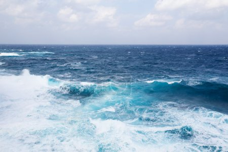 Photo for Beautiful blue sea surface and foamy waves - Royalty Free Image