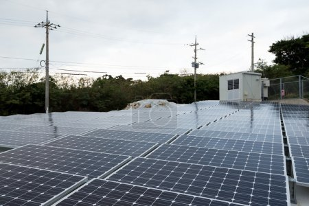 Solar panels on rooftop of building