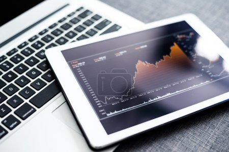Stock market graphs on tablet pc