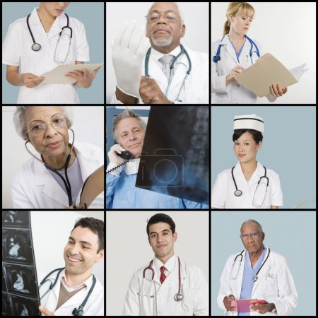 Collage of medical team