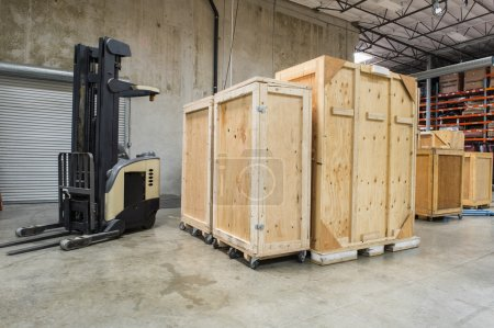 Forklift and wooden containers