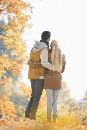 Photo pour Couple regardant loin dans le parc pendant l'automne - image libre de droit