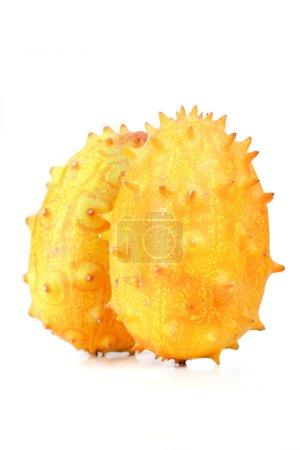 Photo for Studio shot of fresh yellow kiwano melons on white background - Royalty Free Image