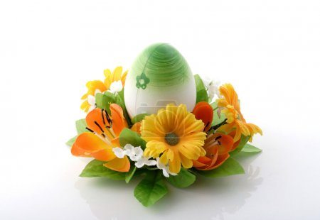 Photo for Green Easter egg on white background - Royalty Free Image
