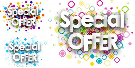 Illustration for Special offer colour backgrounds set. Vector paper illustration. - Royalty Free Image