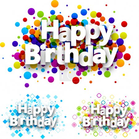 Illustration pour Joyeux anniversaire fond de couleur ensemble. Illustration de papier vectoriel . - image libre de droit