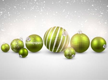 Winter background with green christmas balls.