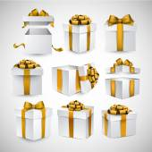 Set of realistic 3d gift boxes