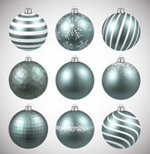Dim christmas balls on white surface Set of realistic decorations Vector illustration