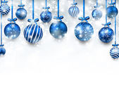 Abstract arc background with blue christmas balls Vector illustration