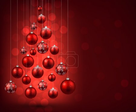 Christmas tree with red christmas balls.
