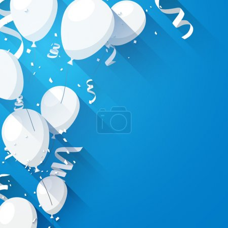 Illustration for Celebration blue background with flat balloons and confetti. Vector illustration. - Royalty Free Image