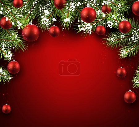 Christmas red background with fir branches and balls, Vector illustration