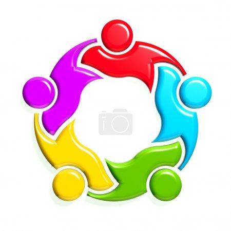 Photo pour Groupe de 5 personnes en cercle. Design 3D en fond blanc - image libre de droit