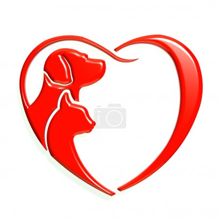 Dog cat red heart love, 3D graphic isolated