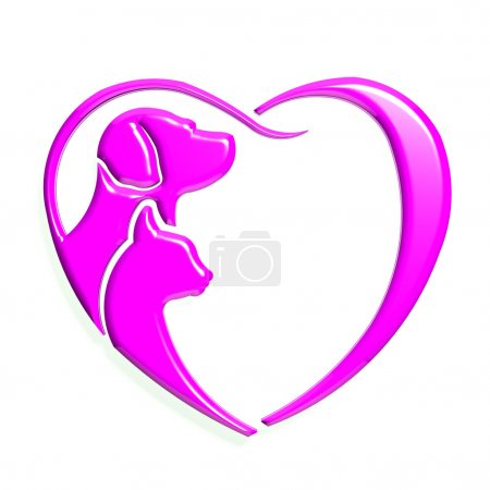 Dog cat pink heart love, 3D graphic isolated