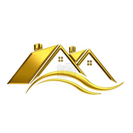 Photo pour Image Immobilier Maisons dorées. - image libre de droit