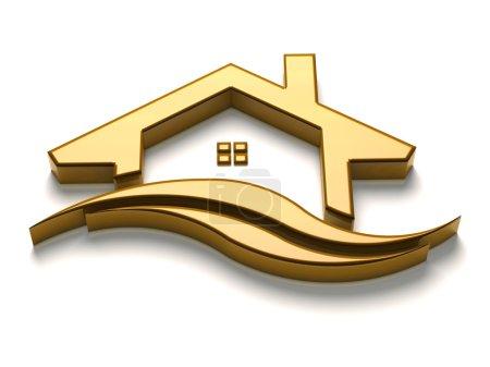 Photo pour Maison d'or de luxe 3D avec logo vagues - image libre de droit