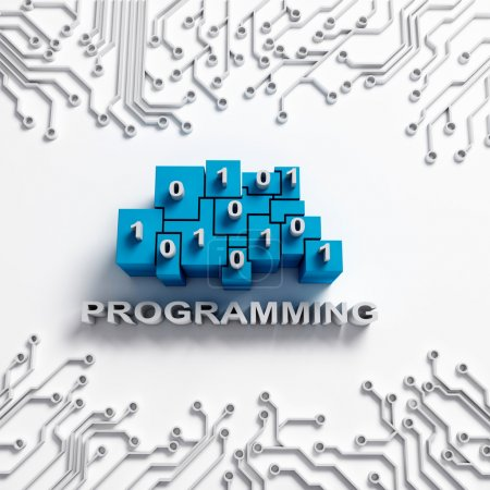 Photo for Programming illustration. Binary blocks and integrated circuit. - Royalty Free Image