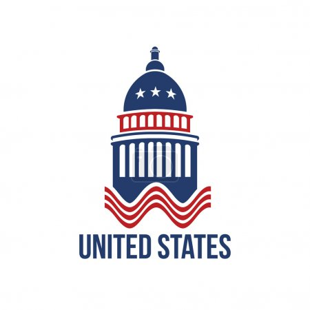 United Staes Capitol building logo in red white and blue