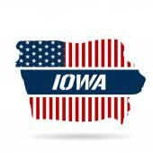 Iowa Patriotic Map Vector Illustration