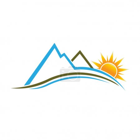 Illustration for Mountains and Sun with swoosh - Royalty Free Image