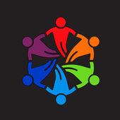 Teamwork people Friends 6 Design Icon logo