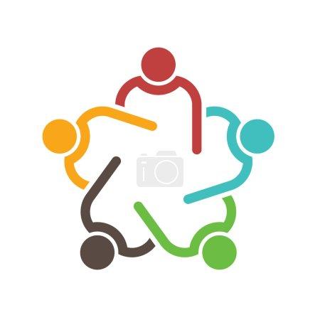 Illustration pour Conférence travail d'équipe groupe de 5 personnes . - image libre de droit